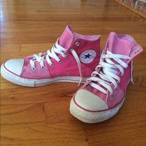 Pink hightop Converse shoes